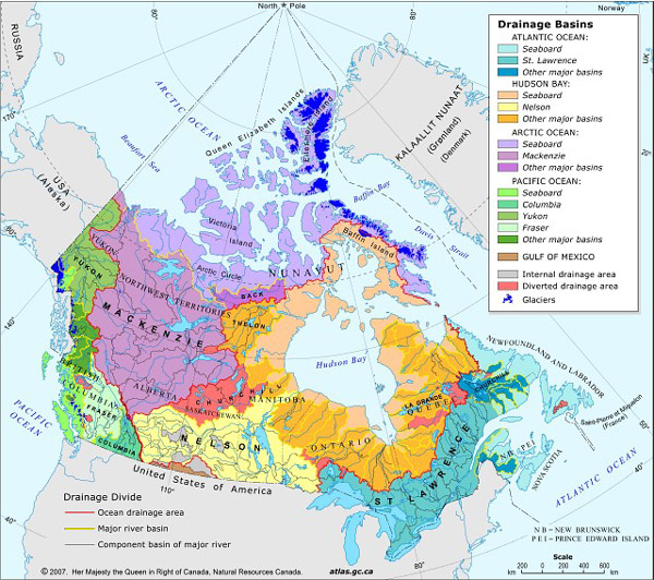 Map of Canada's Drainage Basins